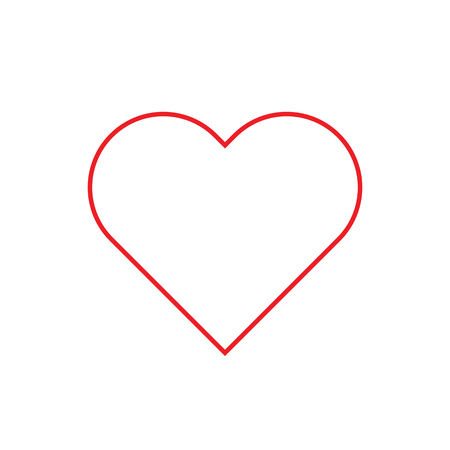 Illustration pour Heart Red outline flat style Icon. Vector illustration. - image libre de droit