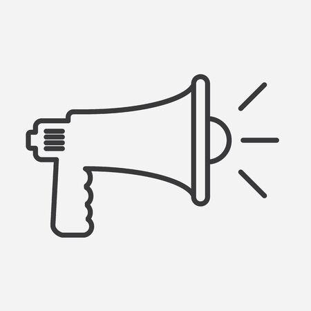 Illustration pour Loudspeaker silhouette icon with line art style. Vector illustration. - image libre de droit
