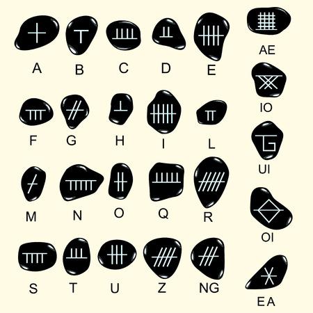 Set of old sacred celtic Ogham alphabet carved in stone