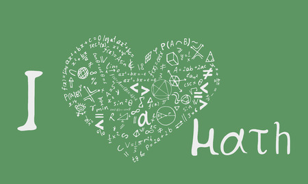 Illustration for Text lettering of an inspirational phrase I Love math in the shape of a heart . Hand drawn vector illustration on green background. - Royalty Free Image