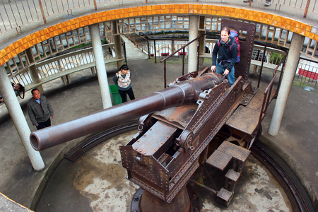 NANNING, CHINA - MARCH 6,1012: Zhenning Fort in People's Park. It is located on a top of a hill for strategic reason and houses German-built naval cannon from 1890.