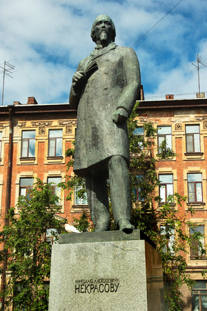 SAINT PETERSBURG, RUSSIA - JULY 6, 2017: Monument to Nikolay Nekrasov, a Russian poet, writer, critic and publisher of 19th century.
