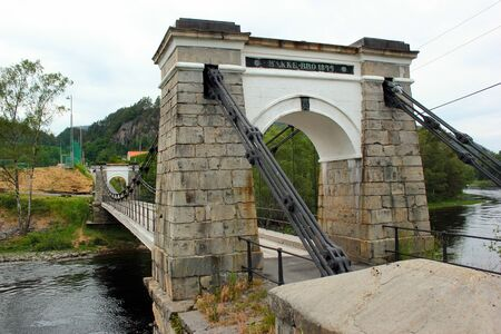 Sira, Norway - June 10, 2018: Bakke bridge, located in Sira village in Flekkefjord municipality. Bakke is a former municipality in Vest-Agder county, Norway.