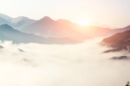 Foto de fog and cloud mountain valley landscape, china - Imagen libre de derechos