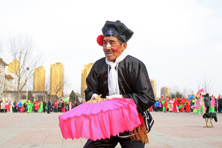 LUANNAN COUNTY - FEBRUARY 27: traditional Chinese style yangko dance performances in the square, on February 27, 2015, Luannan County, Hebei province, China