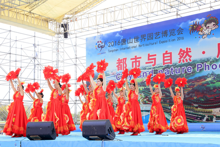 Tangshan City - October 6, 2016: ladies dance performance on stage, Tangshan City, Hebei, China.