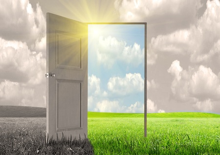 Sun rays and open door