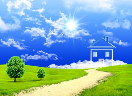Photo pour New imagination of the house on a green meadow - image libre de droit