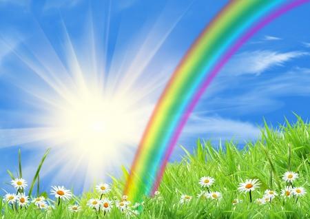 Photo pour Rainbow in the blue sky - image libre de droit