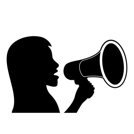 Illustration pour Black silhouette of woman with megaphone. Vector illustration. - image libre de droit