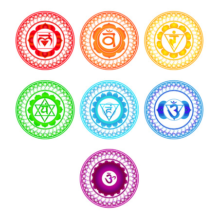 Illustration for Chakra symbols set. Vector illustration. - Royalty Free Image