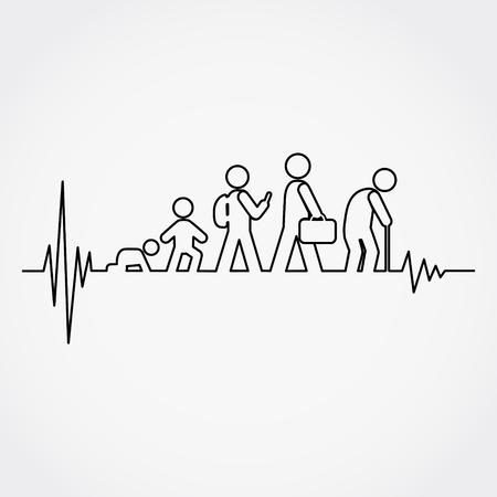 Ilustración de Lline of the pulse with man lifecycle from birth to old age in silhouettes.Vector illustration. - Imagen libre de derechos