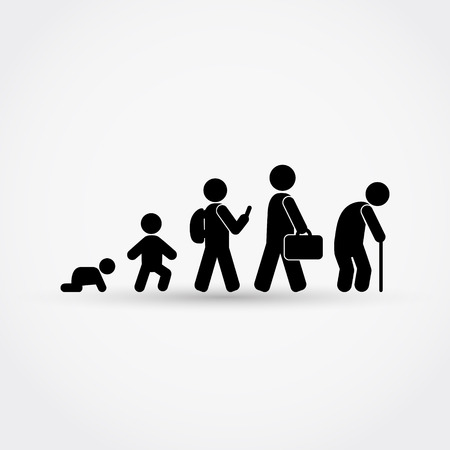 Ilustración de Man lifecycle from birth to old age in silhouettes.Vector illustration. - Imagen libre de derechos