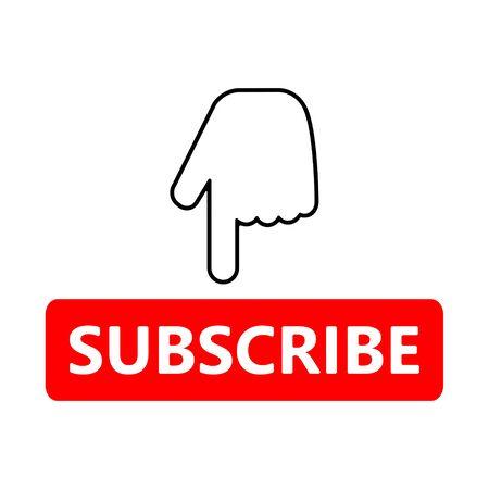 Ilustración de Red button subscribe and hand cursor. Vlogging, blogging, streaming. Flat simple vector illustration. - Imagen libre de derechos