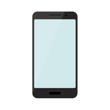 Illustration pour Black smartphone with blue screen isolated on white background. Vector illustration - image libre de droit