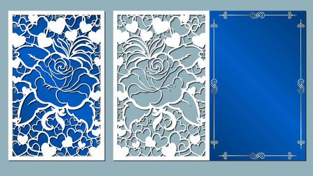 Illustration pour laser, cut, card, roses, cutting, template, wedding, vector, paper, flower, white, - image libre de droit