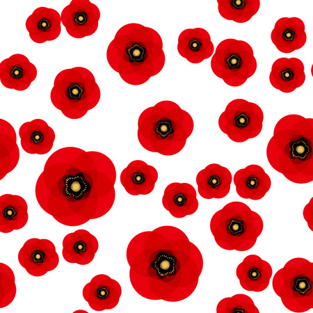Ilustración de Poppy seamless pattern. Red poppies on white background. Can be uset for textile, wallpapers, prints and web design. Vector illustration - Imagen libre de derechos
