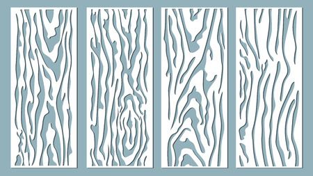 Illustration for Vector illustration. Decorative panel lines, laser cutting. cut wooden panel. - Royalty Free Image