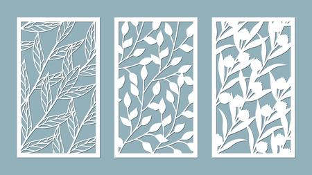 Illustration for Set template for cutting. leaves pattern. Laser cut. For plotter. Vector illustration. - Royalty Free Image
