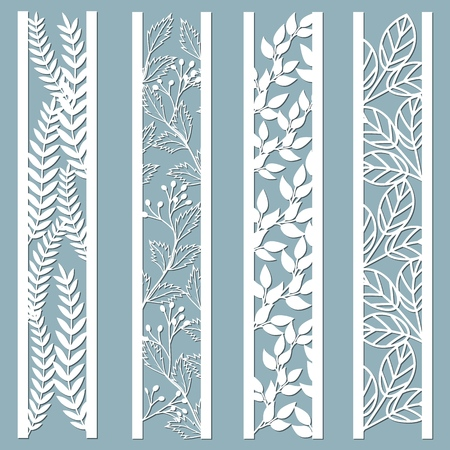 Illustration pour Die and laser cut ornamental panels with floral pattern. leaves, berries, fern. Laser cut decorative lace borders patterns. Set of bookmarks templates. Sticker set. Pattern for the laser cut, serigraphy, plotter and screen printing - image libre de droit