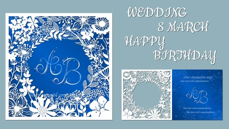Illustration for Vector greeting card for holidays. With the image of wildflowers and dragonflies. Inscriptions-wedding, March 8, happy birthday. Template for laser cutting, plotter cutting, silk screen printing - Royalty Free Image
