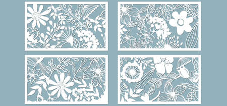 Illustration pour Set template for laser cutting and Plotter. Flowers, leaves for decoration. Vector illustration. Sticker set. Pattern for the laser cut, serigraphy, plotter and screen printing - image libre de droit
