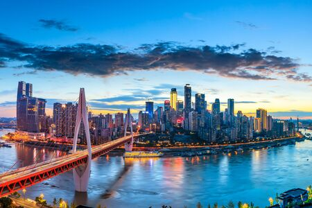 Photo pour Chongqing architectural scenery and rivers and sky at night - image libre de droit