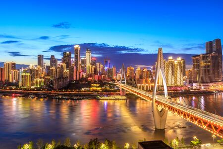 Photo for Chongqing architectural scenery and rivers and sky at night - Royalty Free Image