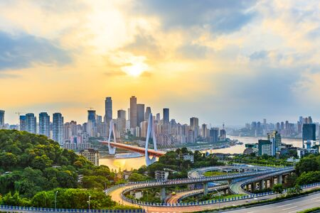 Photo pour Chongqing Cityscape Skyline and Asphalt Road at Sunset - image libre de droit