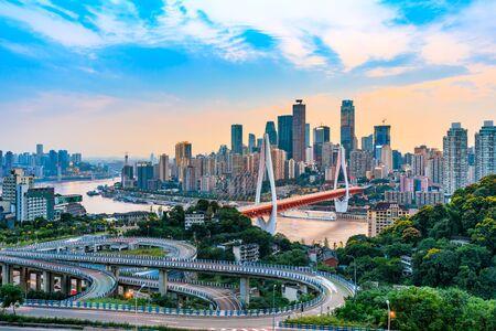Foto für Sunset city architecture landscape and beautiful sky in Chongqing - Lizenzfreies Bild