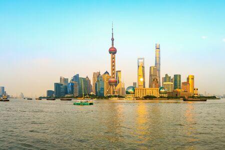 Foto für Sunset beautiful city skyline and river in Shanghai - Lizenzfreies Bild