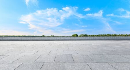 Photo for Empty square platform and woods background landscape - Royalty Free Image