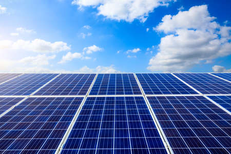 Photo for Solar power panels and natural landscape in sunny summer, Asia - Royalty Free Image