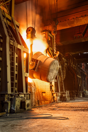 Photo for Metal smelting furnace in steel mills - Royalty Free Image