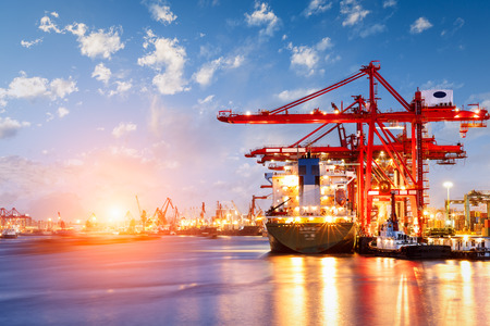 Photo for Industrial container freight Trade Port scene at sunset - Royalty Free Image