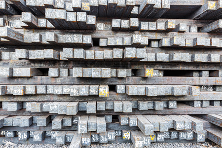 Stack of steel billet products in the steel plant
