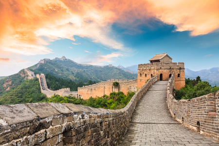 Photo pour Great Wall of China at the jinshanling section,sunset landscape - image libre de droit
