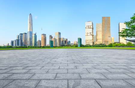 empty square floor and modern city skyline in Shenzhen,China