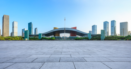 empty square floor and modern city skyline panorama in Shenzhen,China