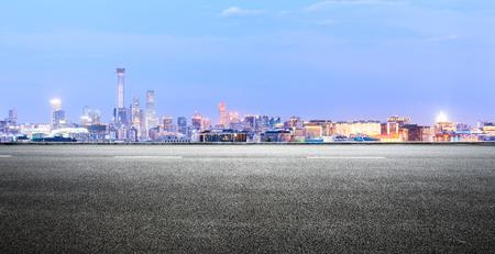 Foto de Panoramic beijing skyline and buildings with empty road - Imagen libre de derechos