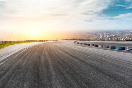 Foto de Panoramic city skyline and buildings with empty asphalt road pavement - Imagen libre de derechos