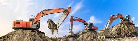 Photo pour Three excavators working at building site on sunny day - image libre de droit