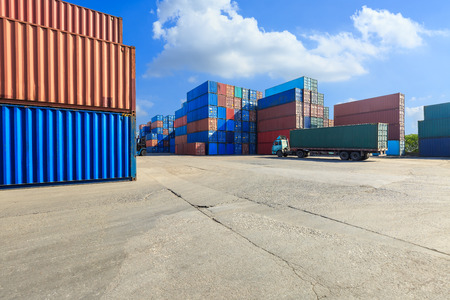 Photo for Industrial Container yard for Logistic Import Export business,modern logistics transportation scene - Royalty Free Image
