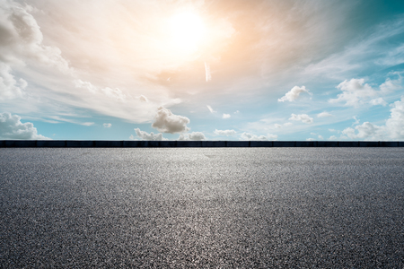 Photo for Empty asphalt road and beautiful sky clouds at sunset - Royalty Free Image