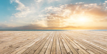Photo for Wooden floor platform and blue sea with sky background - Royalty Free Image