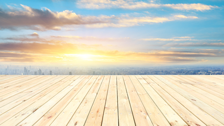 Photo for Shanghai city skyline and wooden platform with beautiful clouds scenery at sunset - Royalty Free Image