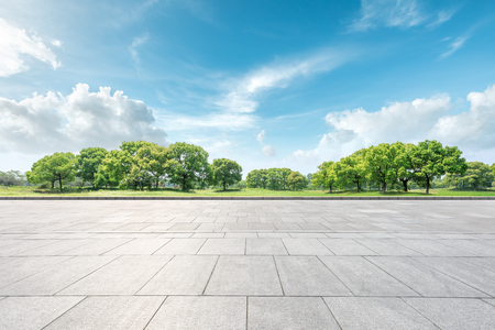 Photo for Empty square floor and green forest natural landscape - Royalty Free Image