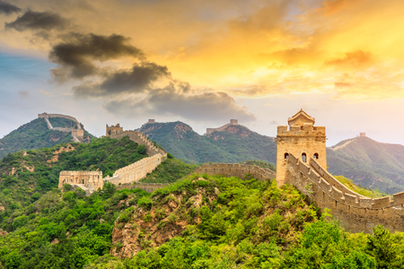 Photo pour The Great Wall of China at sunset,Jinshanling - image libre de droit