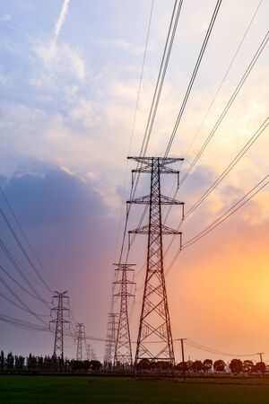 Photo for High voltage tower with sunset - Royalty Free Image
