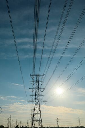 Photo for High voltage tower on blue sky background - Royalty Free Image